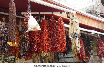Dried chili ristra and dried eggplant  in a Turkish bazaar  in Istanbul, Turkey
