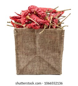 dried chilli Red In the bag Brown White background
