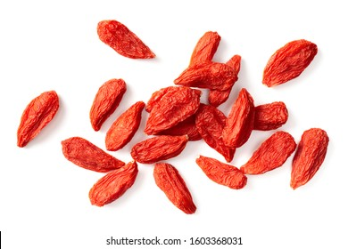 dried Chinese wolfberries isolated on white background, top view