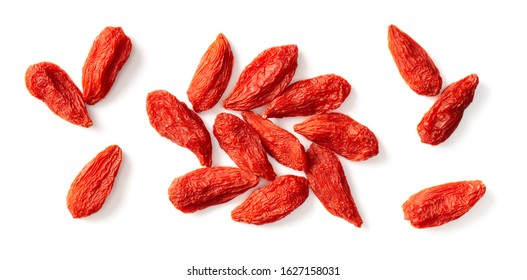 dried Chinese wolfberries isolated on white background, top view - Shutterstock ID 1627158031
