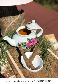dried Cinchona (kina kina) in bowl and tea with pine leaves on wood