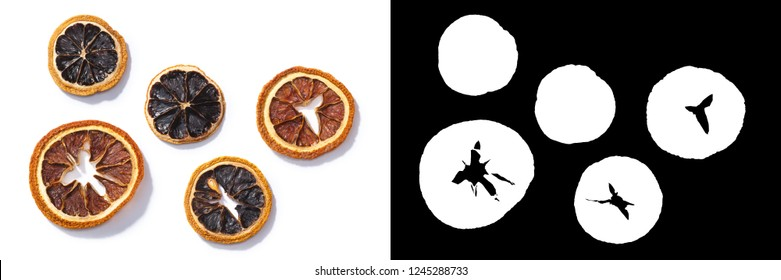 Dried Citrus chips or dry slices, top view