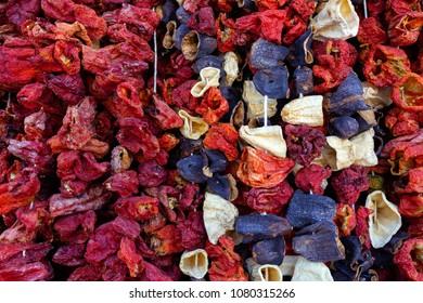 Dried colorful vegetables on wires eggplants, Antakya, Turkey