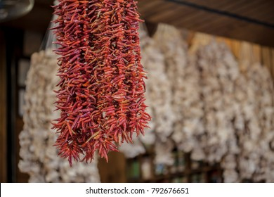 Dried colorful vegetables on wires eggplants
