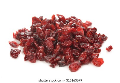 Dried cranberries isolated on a white background