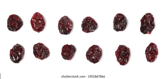 Dried cranberries set and collection isolated on white background, top view