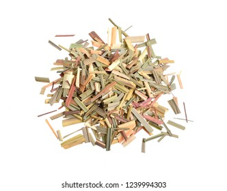 Dried Cymbopogon, better known as lemongrass. Isolated on white background.