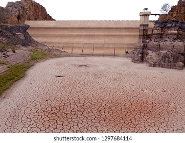 Dried up dam during a drought