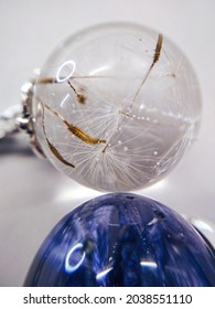 Dried dandelion blowball flower plant epoxy resin ball ring necklace pendant jewelry macro photo