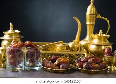Dried date palm fruits or kurma, ramadan food