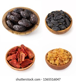 Dried dates, black and white raisins and tomatoes in wooden bowls on white isolate.