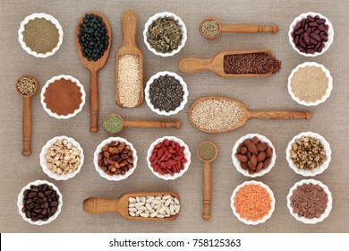 Dried diet health food with nutritional supplement powders, including herbs used as appetite suppressants, pulses, coffee, seeds and nuts. High in omega 3, antioxidants and fibre.