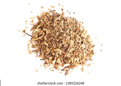 Dried Echinacea Root in a Pile on a White Background