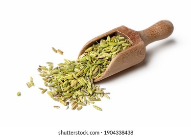 Dried fennel seeds on the white background