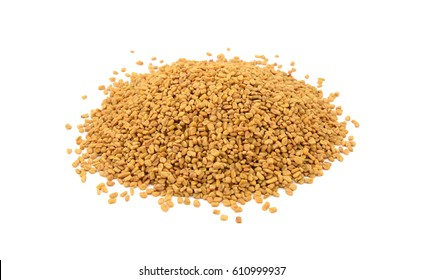 Dried fenugreek seeds, isolated on a white background