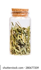 Dried Field Horsetail in a bottle with cork stopper for medical use.