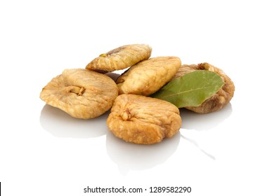 Dried figs fruit heap white isolated