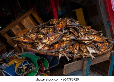 Dried fish. The local Market on the street. Cebu. Philippines
