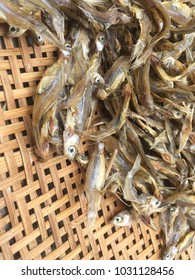 dried fish on a basket