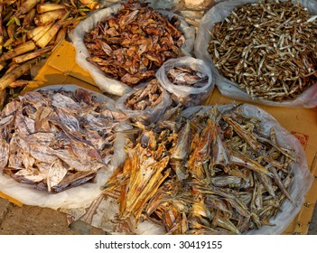 dried fish on a fish market