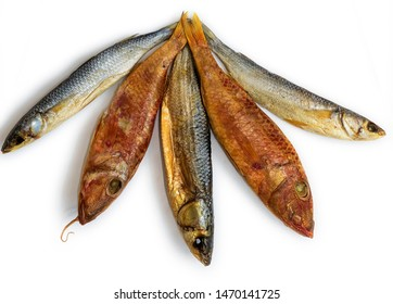Dried fishes ( Mullus and  Mugil) . Salty dry  fish on a white background. Dead dry salty fish - snack to beer. Isolated on white. Soft focus