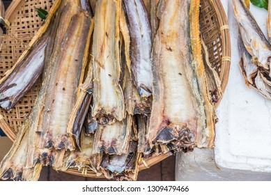 Dried fishes for sale at the street market in Cheung Chau Island, Hong Kong, China.