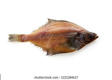Dried flatfish isolated on white