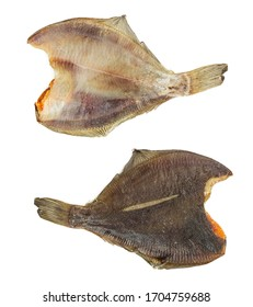 Dried flounder isolated on a white background. Dried fish.