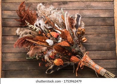 Dried flower bouquet, arrangement full autumn wedding