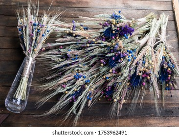 Dried flower bouquet, arrangement royal blue full autumn wedding