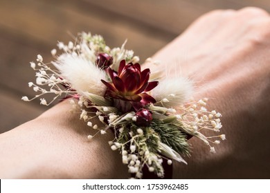 Dried flower corsage for wedding