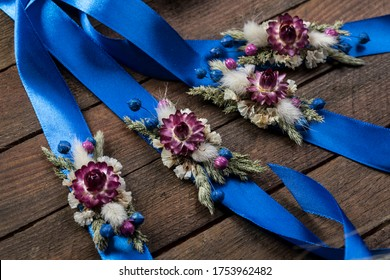 Dried flower corsage for wedding royal blue