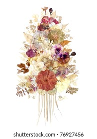 Dried flowers composition isolated