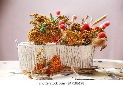 Dried flowers in pot on bright background