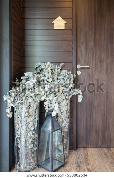 Dried Flowers Tall Vases Glass Candle Stock Photo Edit Now 558802534