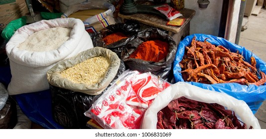 Dried foods on display at a shop in Topiza, Bolivia.  Power for refrigeration is not an option for many Indigenous people living in this remote part of the country.