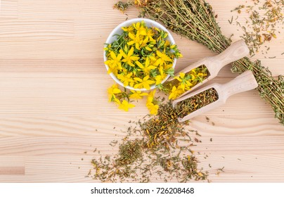 dried and fresh, flowering St. John's wort