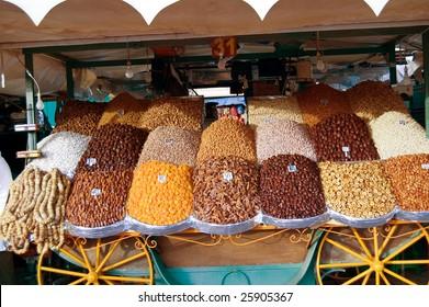 dried fruit in Djemaa el Fna square, Marrakesh