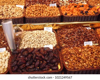 Dried Fruit & Nuts on a Market Stall