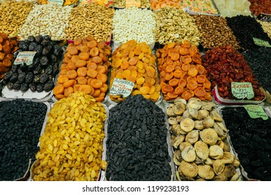 Dried fruits and assorted nuts selling in Green Bazaar, Almaty
