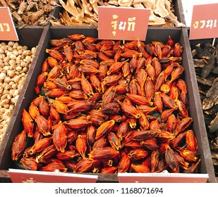 Dried fruits of Gardenia jasminoides or Fructus gardenia or Cape jasmine or Zhi zi shan or Chija.  (Thai language depicted in the photo is its pronunciation of Chaozhou by Thai spelling)