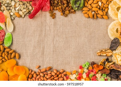 Dried fruits and nuts background