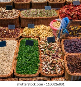 Dried fruits and nuts at market in Barcelona, Spain