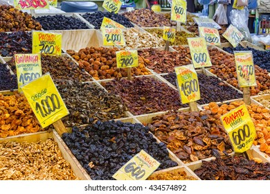 Dried fruits and nuts at market in Valparaiso, Chile