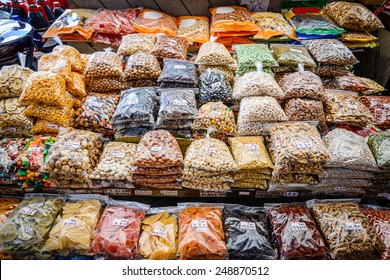 Dried fruits and nuts for sale at Gwangjang Market in Seoul, South Korea.
