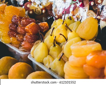 Dried fruits on the stall of Yerevan Market, Armenia. Dried pears, peaces and plums on sale. Great traditional dessert of Caucasus