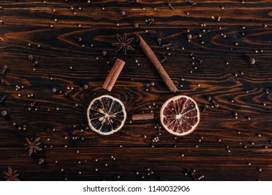Dried fruits in the shape of a bicycle on wooden background