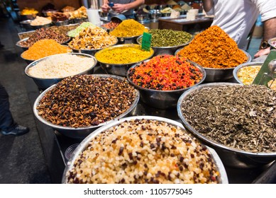 Dried fruits, spices and herbs in Mahane Yehuda market. Jerusalem, Israel