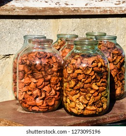 Dried fruits in the three-liter jar. Dried apples, cut into slices.
