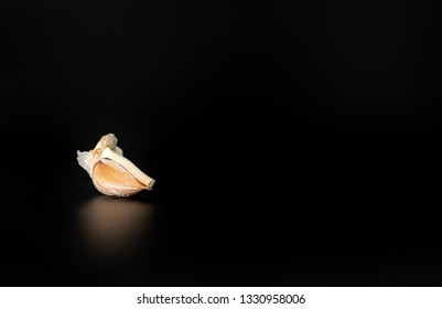 Dried Garlic on black background